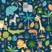 Jungle Friends - 7035 - Animal Montage on Navy Blue Background  - 2197_B - Cotton Fabric